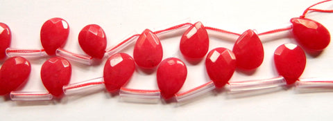Big Red Jade  -  13x18mm Faceted Flat Briolette 16""