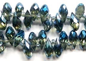 Dark London Blue Crystal AB - 6x12mm Faceted Long Teardrops 8""