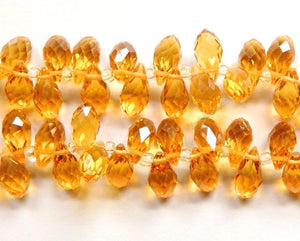 Dark Citrine Crystal Quartz - 6x12mm Faceted Long Teardrops 8""