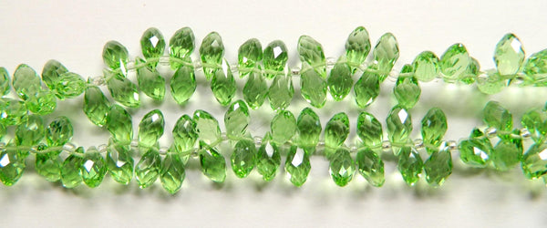 Apple Crystal Quartz - 6x12mm Faceted Long Teardrops 8""