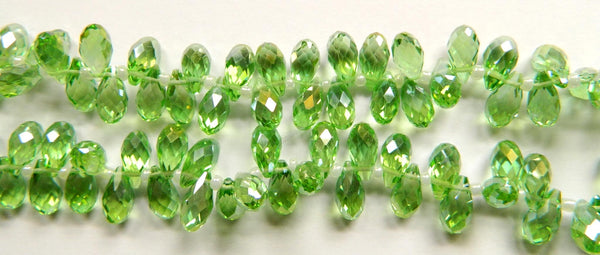 Apple Crystal Quartz AB - 6x12mm Faceted Long Teardrops 8""