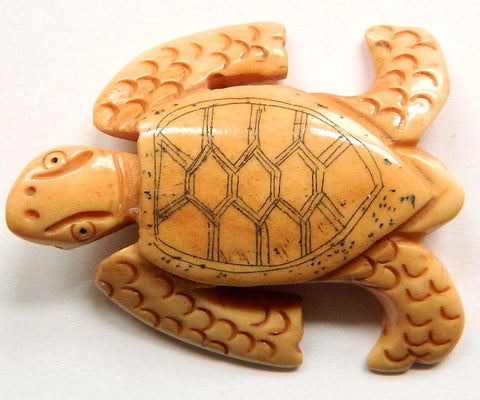 Carved Bone Pendant - Turtle - 30x40mm #6673-1