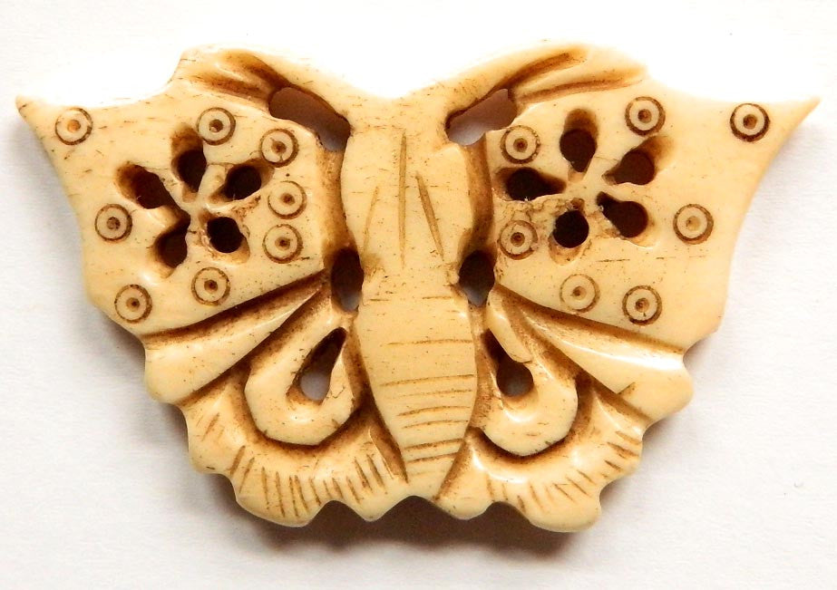 Carved Bone Pendant - Butterfly - 52x32mm #9098