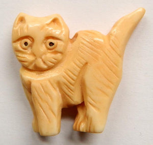 Carved Bone Pendant - Walking Cat - 25x26mm #6671