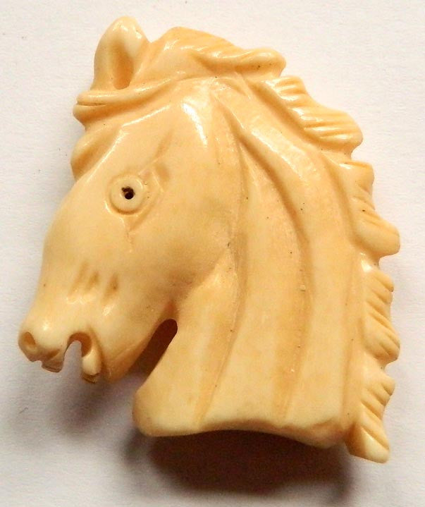 Carved Bone Pendant - Horse Head - 30x36mm #6667-2