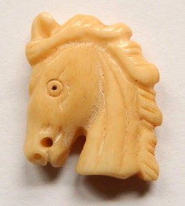 Carved Bone Pendant - Horse Head - 20x25mm #6667-1
