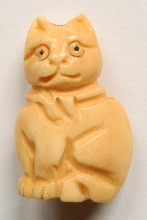 Carved Bone Pendant - Sitting Cat