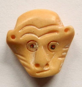 Carved Bone Pendant, Beads - Monkey Head - 12x13mm #9102