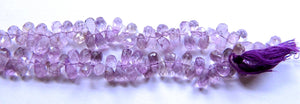 Amethyst Light  -  6-10mm Faceted Teardrop Head Drill  14""