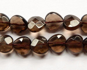 Smoky Topaz Dark AA  -  Faceted Heart 16""