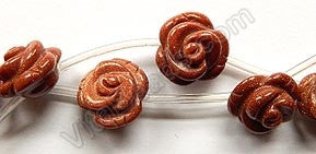 Goldstone A  -  Carved Rose Flower Beads  16""