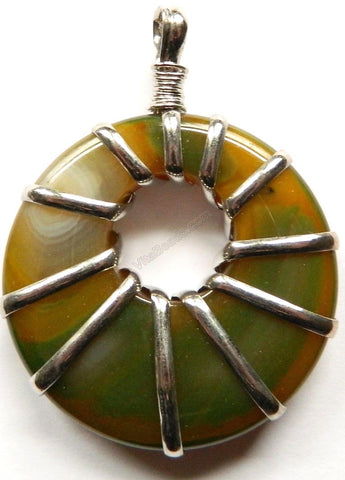 Natural Agate Donut Pendant w/ Wire Bail - Green