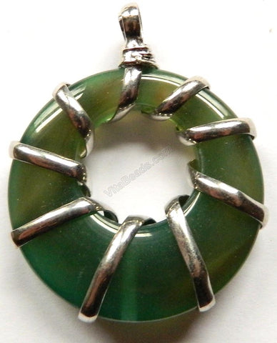 Natural Agate Donut Pendant w/ Wire Bail - Dark Green