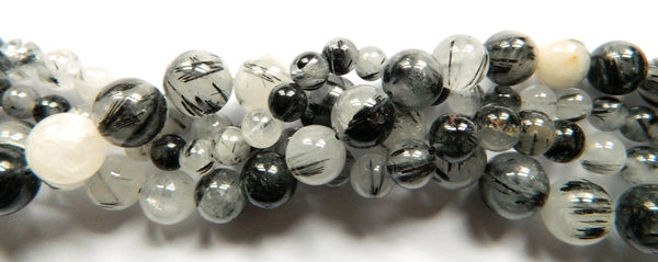 Black Rutilated Quartz AA - Smooth Round  16""