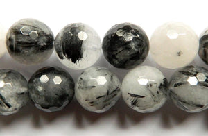 Black Rutilated Quartz AA - Faceted Round  16""