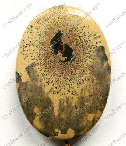 Pendant - Smooth Oval - Paint Brush Jasper