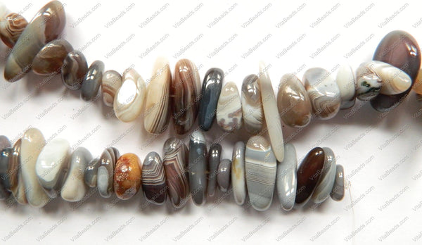 "Botswana Agate A  -  Big Smooth Tooth Nuggets  16""      9 x 23 mm"