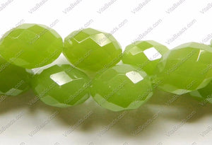Faceted Eggs - 015 Olive Green Chalcedony (Dark) 16""