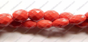 Faceted Eggs - 002 Red Coral Qtz  16""