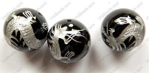 Black Onyx   Carved Silver Dragon Smooth Round Bead