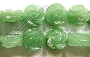 "Green Aventurine Dark  -  Carved Rose Coins 16""    14 mm"