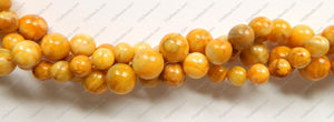 Yellow Crazy Lace Agate  -  Smooth Round Beads 16""