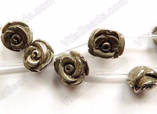 Pyrite AA  -  Carved Rose Flower Beads  16""