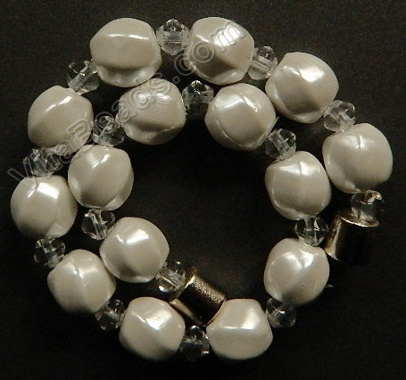 Pearlized Magnetic Hematite  -  Twisted Beads Bracelet 7.5""