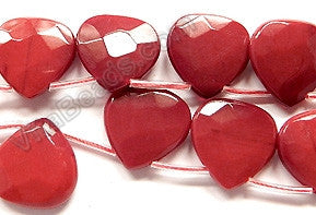 Red Coral Quartz  -  20mm Faceted Flat Briolette