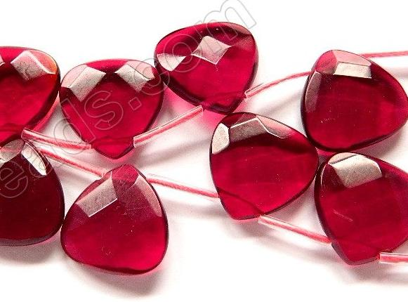 Red Win. Crystal Quartz  -  20mm Faceted Flat Briolette