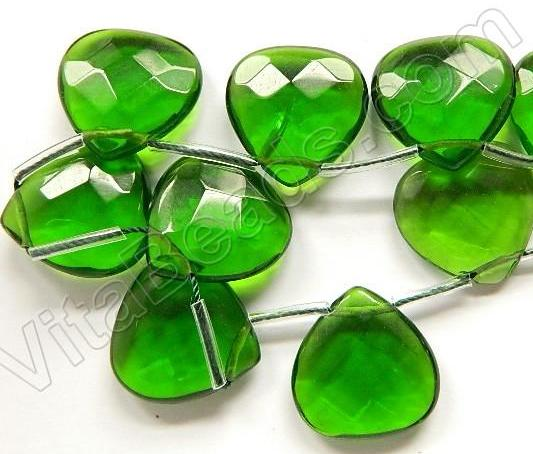 Green Crystal Quartz  -  20mm Faceted Flat Briolette