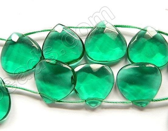 Emerald Crystal Quartz  -  20mm Faceted Flat Briolette