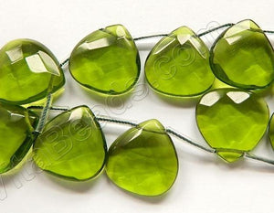 Peridot Crystal  -  20mm Faceted Flat Briolette
