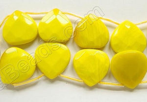 Yellow Quartz  -  20mm Faceted Flat Briolette
