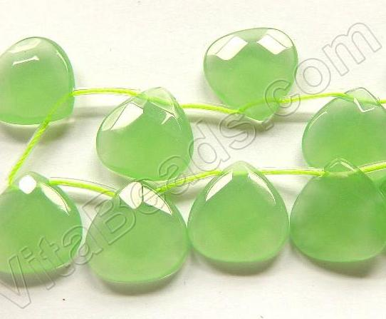 Light Green Chalcedony Quartz  -  20mm Faceted Flat Briolette