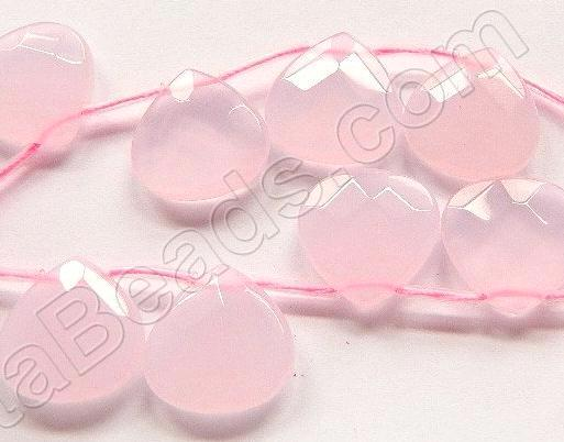 Pink Chalcedony Quartz  -  20mm Faceted Flat Briolette