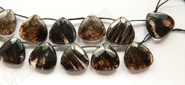 Black Rutilated Quartz  -  20mm Faceted Flat Briolette
