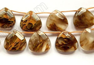 Golden Rutilated Quartz  -  20mm Faceted Flat Briolette