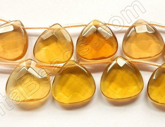 Light Amber Crystal Quartz  -  20mm Faceted Flat Briolette