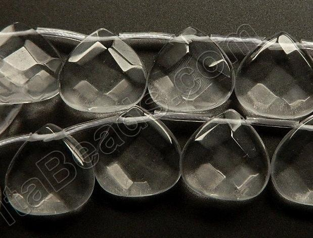 Clear Crystal Quartz  -  20mm Faceted Flat Briolette