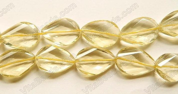 Natural Lemon Quartz AAA -  Twist Faceted Drops  16""
