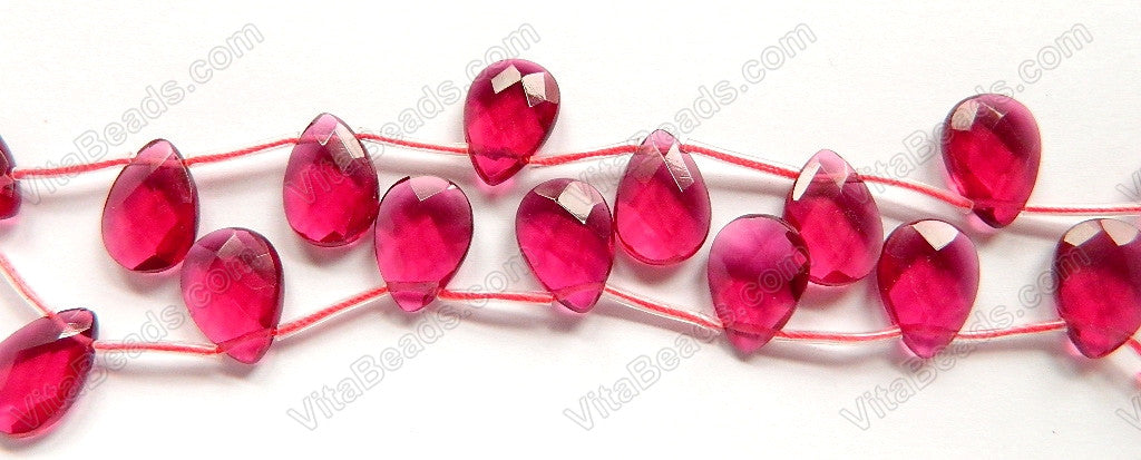 Ruby Crystal  -  13x18mm Faceted Flat Briolette 16""