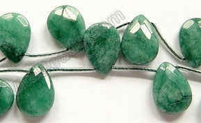 Emerlad Jade -  13x18mm Faceted Flat Briolette 16""