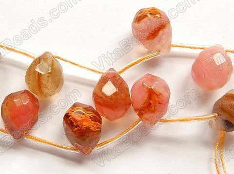 Mixed Cherry Golden Quartz - 13x18mm Faceted Teardrop 16""