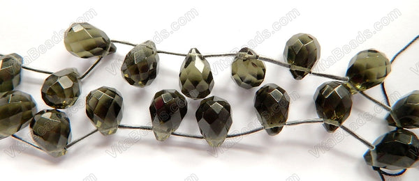 Smoky Quartz - 13x18mm Faceted Teardrop 16""