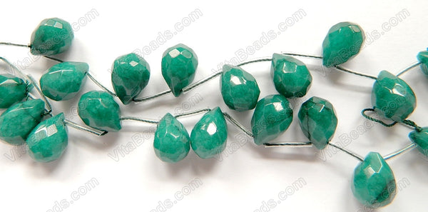 Emerald Jade - 13x18mm Faceted Teardrop 16""