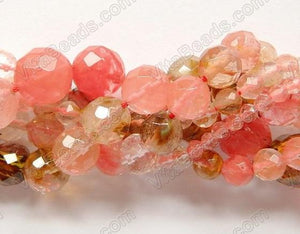 Mixed Fire Cherry Quartz  -  Faceted Round   16""