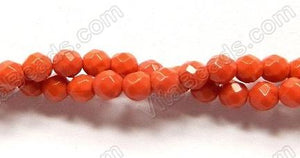Orange Coral Quartz  -  Faceted Round   16""