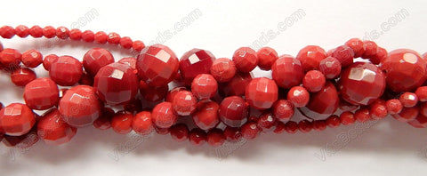 Red Coral Quartz  -  Faceted Round   16""
