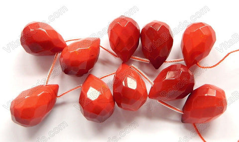 Red Coral Quartz  -  18x25mm Faceted Teardrop 8""